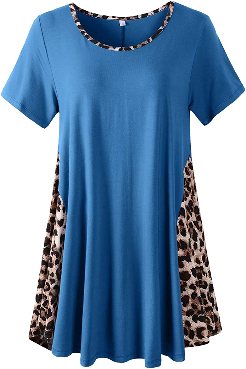 LARACE Leopard Print Tops For Women Short Sleeve Plus Size Tunics Color Block Tee Shirt