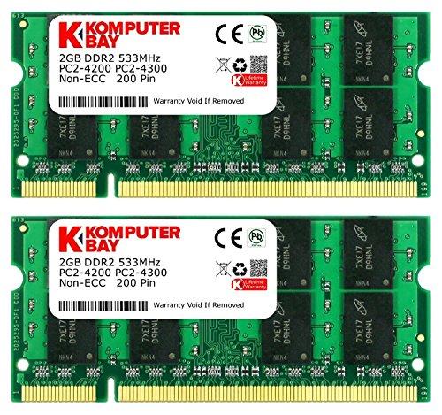 Komputerbay 4GB 2X 2GB DDR2 533MHz PC2-4200 PC2-4300 533 (200 PIN) SODIMM memoria del computer portatile
