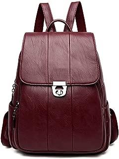 Women Leather Backpacks Vintage Backpack Travel Shoulder Bag School Bags Wine Red