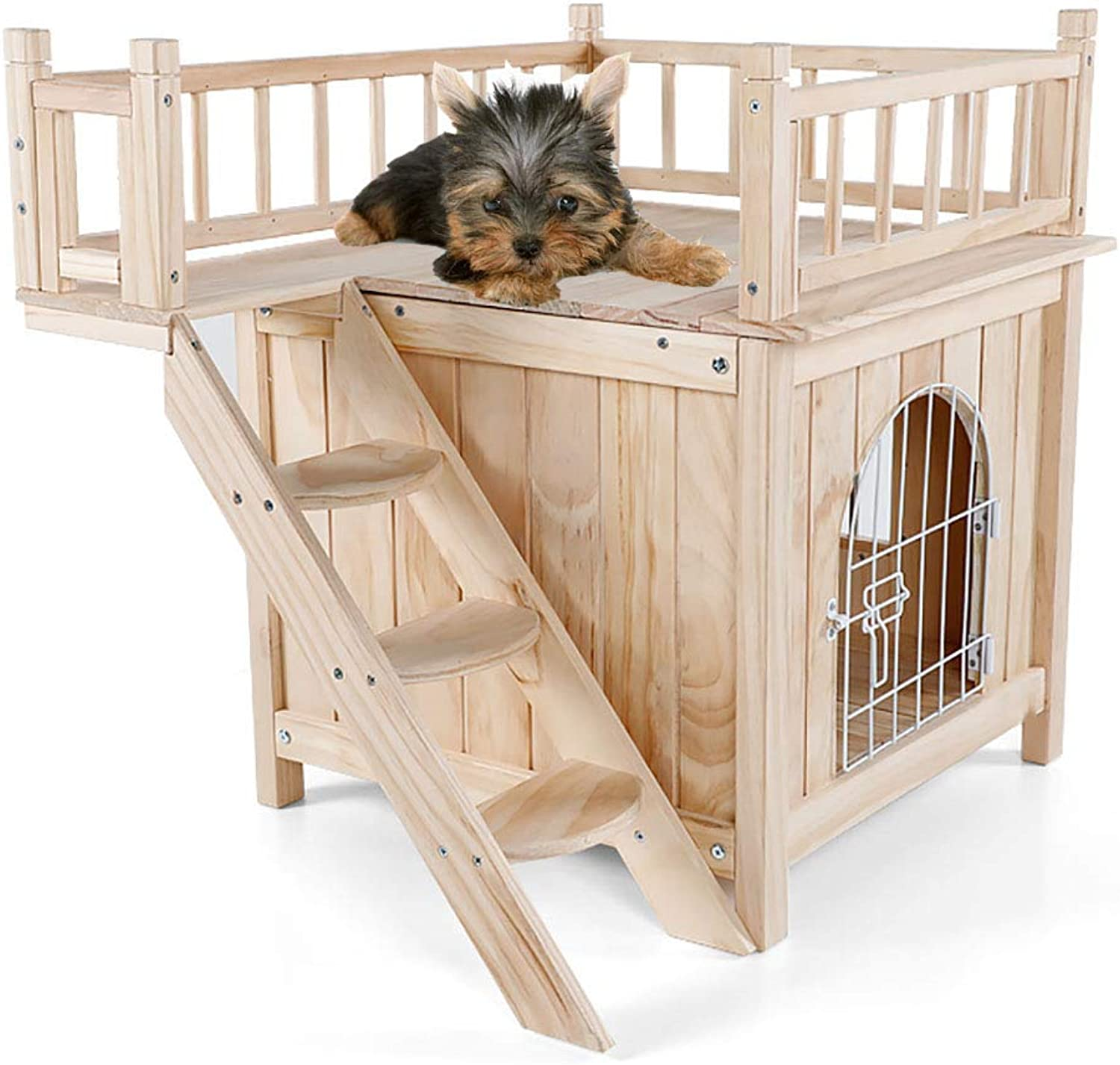 DJLOOKK Pet Cat Dog House Wooden Outdoor Indoor Dog Cat Puppy House Room with a View