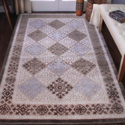 Diamond Floral Medallion Cotton-Polyester Blend Geometric Indoor Area Rugs for Bedrooms, Livingroom, Hallways,Blue-Charcoal, 4' x 6'