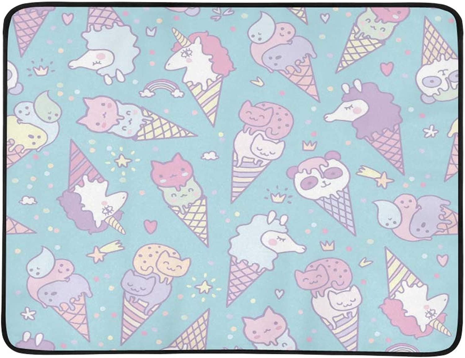Vector Illustration of Pop Cute Ice Cream Cones Th Pattern Portable and Foldable Blanket Mat 60x78 Inch Handy Mat for Camping Picnic Beach Indoor Outdoor Travel