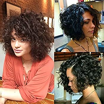 Amazon Com Brazilian Short Curly Bob Human Hair Lace Front Wigs With Baby Hair For Black Women Natural Color 130 Density 10 Inch Beauty
