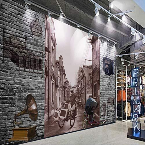 Pbbzl behang nostalgische klassieke 3D-stereo-bakstenen muur oude gassen achtergrond behang restaurant muurschildering in Chinese stijl 400 x 280 cm.