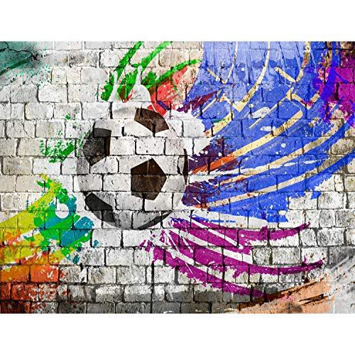 Fototapete Fussball Steinwand 352 x 250 cm Vlies Tapeten Wandtapete XXL Moderne Wanddeko Wohnzimmer Schlafzimmer Büro Flur Bunt 9021011b