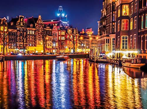 Ámsterdam Night Lights rompecabezas, fotografía de viaje, colección, 500...
