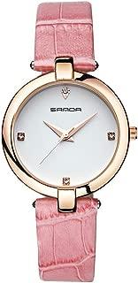 Relojes para mujeres, reloj de pulsera de reloj de pulsera de correa de cuero de diamantes de cuarzo femenino analógico redondo(powder)