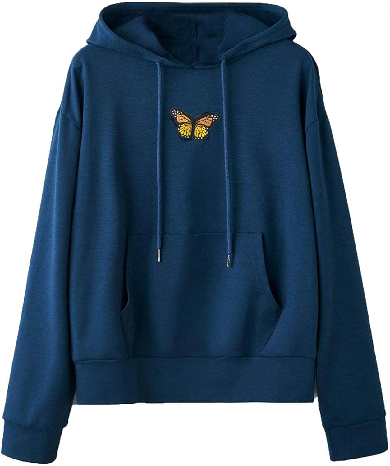Oiumov Hoodies for Women, Womens Sweatshirts Casual Long Sleeve Butterfly Print Loose Hooded Pullover Tops with Pockets