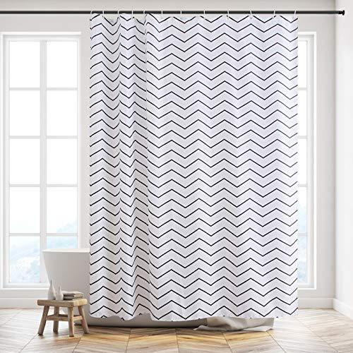 Furlinic Duschvorhang, Textiler Vorhang für Badewanne und Dusche Wasserdicht, Badvorhang Anti-schimmel aus Stoff für Badezimmer Waschbar, Chevron mit 12 Ringe 180x210.