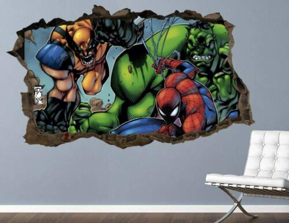 FHMYCSQ 3D Wallpaper Sticker Phoenix Mall Wall Smashed Art mart Decal Custom