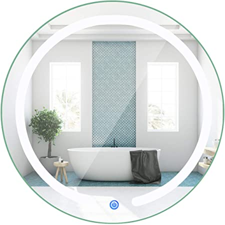 Amazon Com Tangkula 20inch Round Led Mirror Wall Mount Bathroom Vanity Mirror W Led Lights 3 Color Temperature Illuminated Make Up Mirror W Touch Button Dimmable Lighted Mirror For Bathroom Bedroom Home