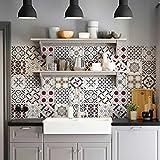 72 (Piezas) Adhesivo para Azulejos 10x10 cm - PS00166 - Leopoli - Adhesivo Decorativo para Azulejos para baño y Cocina - Stickers Azulejos - Collage de Azulejos
