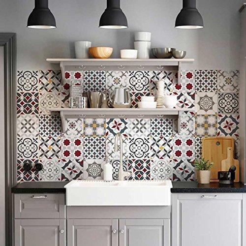32 (Piezas) Adhesivo para Azulejos 15x15 cm - PS00166 - Leopoli - Adhesivo Decorativo para Azulejos para baño y Cocina - Stickers Azulejos - Collage de Azulejos