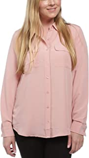 August Silk Women's Long Sleeve Button Down Blouse with Pockets