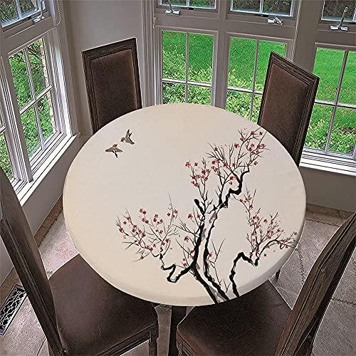Chickwin Mantel Antimanchas Redondo, Mantel de Mesa Impermeable Diseño de Borde Elástico con Estampado Pintura Chinoiserie Mantel Redondo para Comedor, Cocina y Picnic (Flor de Ciruelo C,90cm)