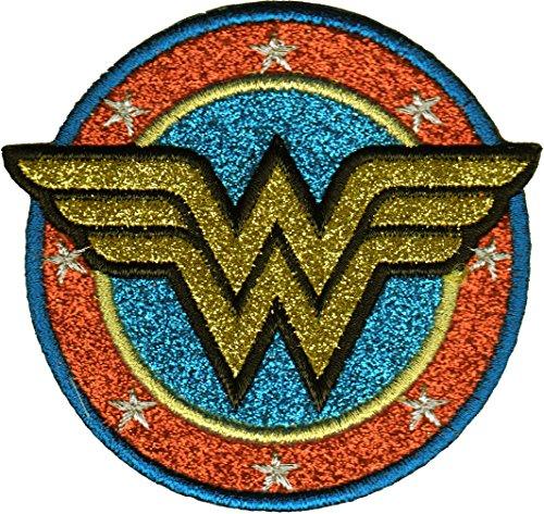 Aplicación de DC Comics Originals Wonder Woman Shield con Purpurina Dorada Parche