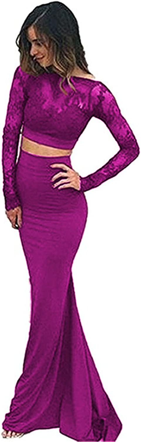 Beautydress 2 Pieces Lace Prom Dresses Sheer Lace Long Sleeve Mermaid Evening Gown