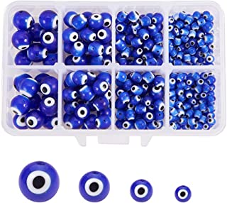 NBEADS 1 Box (About 390pcs) 4 Sizes Handmade Round Evil Eye Lampwork Beads Charms Spacer Beads fit Bracelets Necklace Jewelry Making