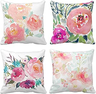 Emvency Set of 4 Throw Pillow Covers Peonies Summer Watercolor Floral Pink Flower Girly Pastel Mint Colorful Decorative Pillow Cases Home Decor Square 18x18 Inches Pillowcases