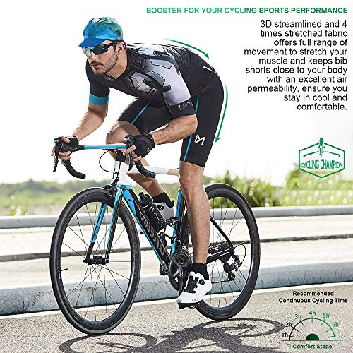 MEETYOO Trägerhose Kurz Herren, Polster Trägerhosen Radsport Atmungsaktiv Rad Trägerhose Männer Bib Shorts für Fahrrad Fitness - 6