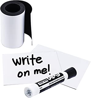 Houseables Write On Magnetic Roll, Dry Erase Magnet Strip, Glossy White, 3 Inch Wide x 10' Long, Wipe Off Labels, Magnetically Receptive Whiteboard Sheet, Board Magnets, for Shelf, Filing Cabinet