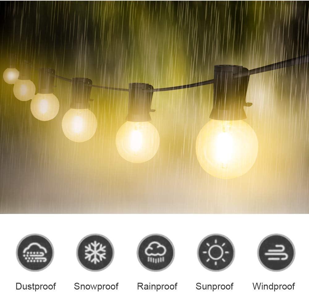 PDGROW Lichterkette Innen/Außen G40 Lichterketten 25FT Wasserdichte Lichterkette Beleuchtung 23 Birnen mit 2 Ersatzbirnen Dekoration für Garten, Party, Hochzeit, Weihnachten - Warmweiß Warmweiß 25ft