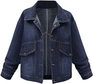 Women Denim Jacket Outfit Casual Loose Drop Shoulder Jean Jackets