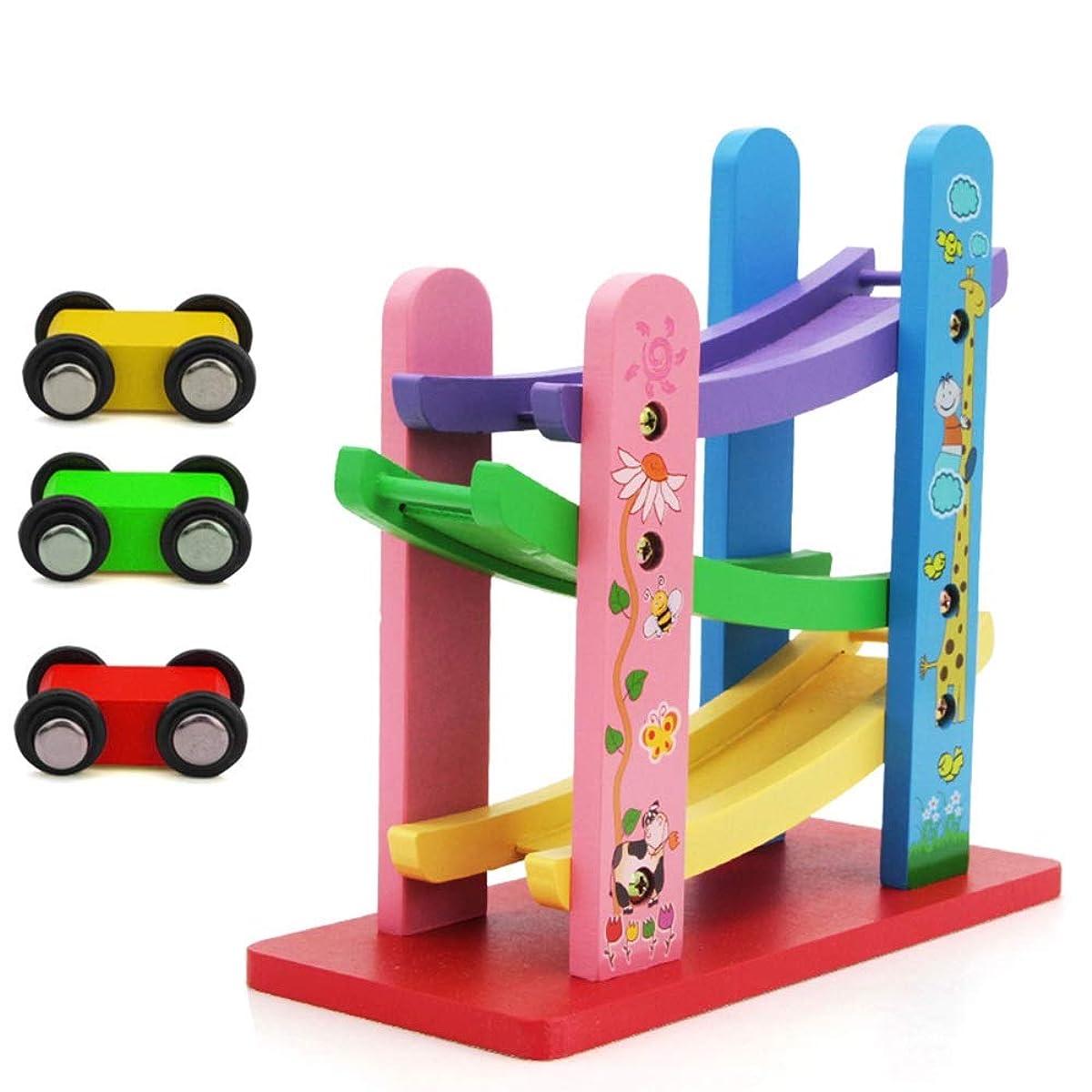 労働しっとり送信するXyanzi 子どもおもちゃ 木製のレーストラック車、3ミニ車でカーランプレーサーランプレーサーゲームカラフルなウッドレーストラックランプ幼児のおもちゃ1 2歳男の子と女の子の贈り物