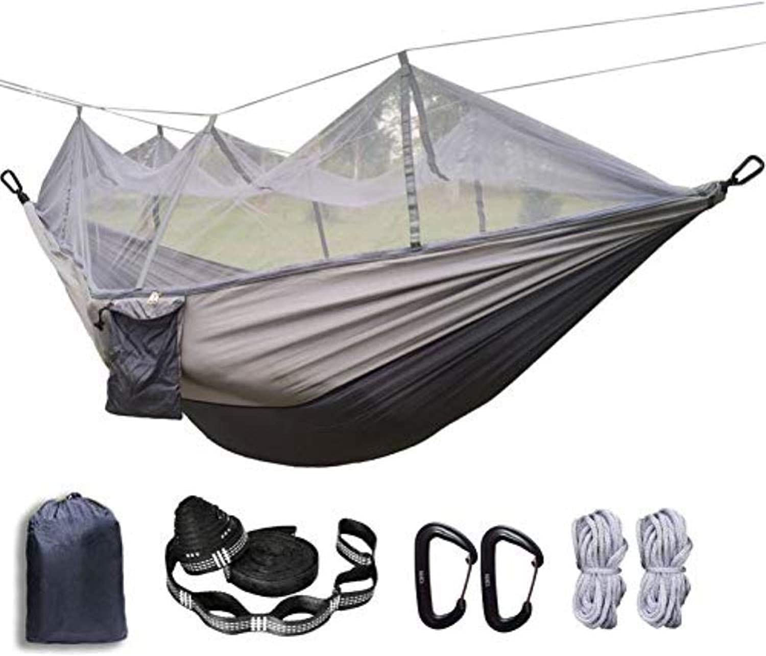 Portable Double Hammock,Camping Hammock with Mosquito Net, Foldable with Mosquito net Hammock ,for Backpacks, Travel, Beach, Garden