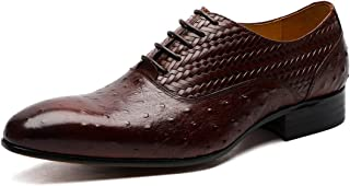 Ostrich Texture Woven Oxford Shoes Formal Shoes (Color : Coffee, Size : 38)