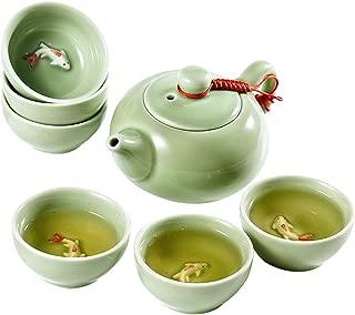 Chinese Kongfu Tea Set, Ceramic Kung Fu Tea Cup Set Exquisite Oriental Porcelain Tea Ware Teapot Teacups China Tea Service Toy Tea Set for Home Office Use Gift, Teal with Raised Koi Fish Design