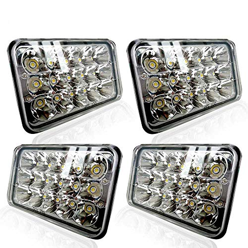 TURBO SII DOT Approved 4X6 LED Headlight Assemblies Hi/Lo Sealed Beam Replace H4651 H4656 Bulb Headlamps for KW Kenworth T600 W900 T800 Truck Peterbilt 379 S10 RV Freightliner Semi 4PCS