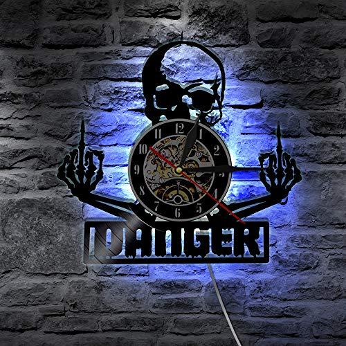 YZJYB Reloj De Vinilo con Registro De Pared Cráneo Gothic Steampunk LED De 30CM Decoración Siete Colores Sala De Estar Cocina Hechos A Mano Inicio Decoración De La Pared