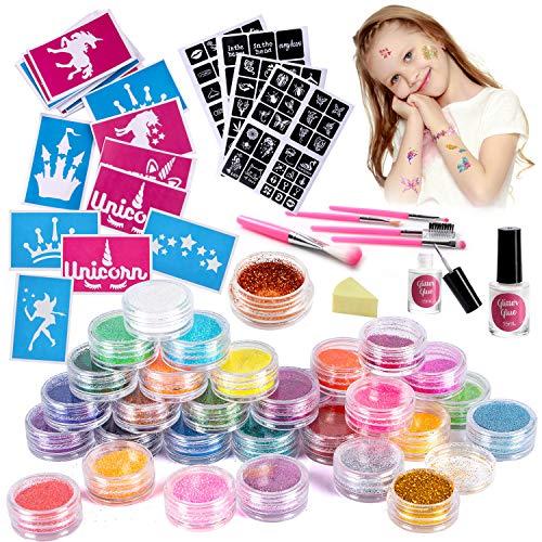 VAMEI Kit de tatuaje de brillo Conjunto de tatuaje temporal Brillo de uñas, 30 colores brillo, 141 plantilla de tatuaje única, 2 pegamento, 5 pinceles para niñas adultos