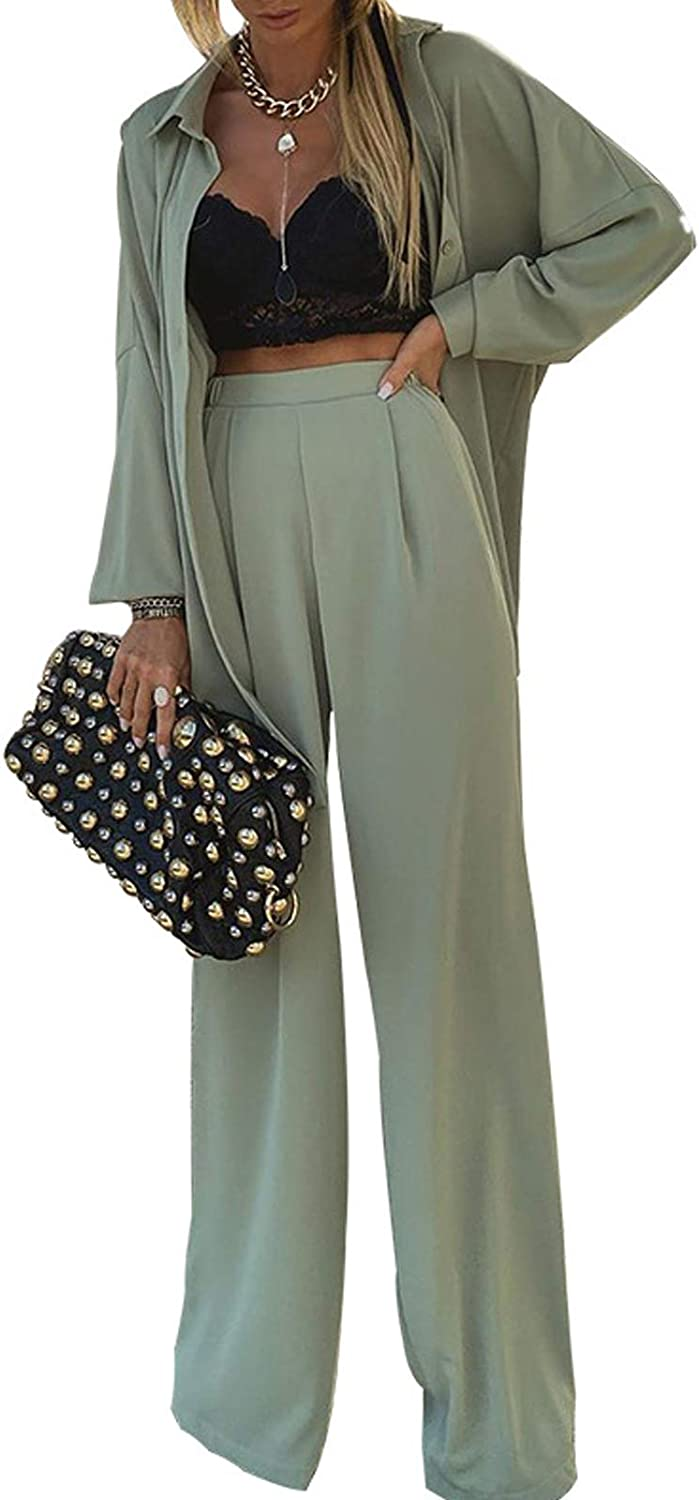 Women's 2 Piece Set Sexy Cardigan Cover Up Wide Leg Palazzo Pant Suit Outfits