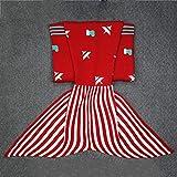 XILIUHU Kinder Garn gestrickt Mermaid Schwanz Decke Handarbeit Häkeln Meerjungfrauen Decke werfen Schlafsofa Wrap schöner Schlafsack, F, 150 cm x 70 cm