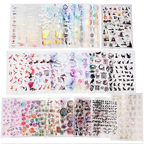 LETS RESIN 25 Sheets Resin Art Supplies Kit,Transparent Decorate Stickers for Silicone Resin Molds, Resin Crafts Materials with Holographic Clear Film, Halloween Stickers, Skull Stickers, Etc