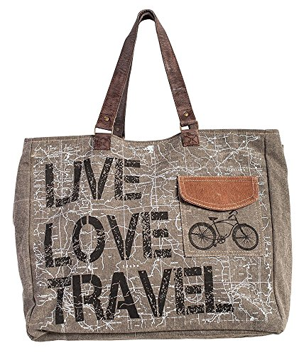 Mona B Live Love Travel Weekender Bag M-3725, Beige, Brown, 19
