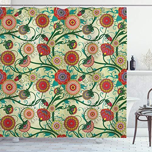 ABAKUHAUS Blumen Duschvorhang, Orientalische Inspirationen, mit 12 Ringe Set Wasserdicht Stielvoll Modern Farbfest & Schimmel Resistent, 175x200 cm, Mehrfarbig