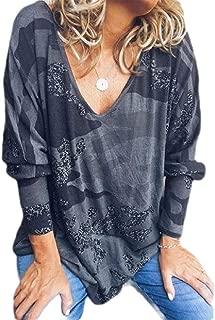 S-Fly Women's V Neck Top Casual Loose Camo Long-Sleeve Shirt Top Blouse