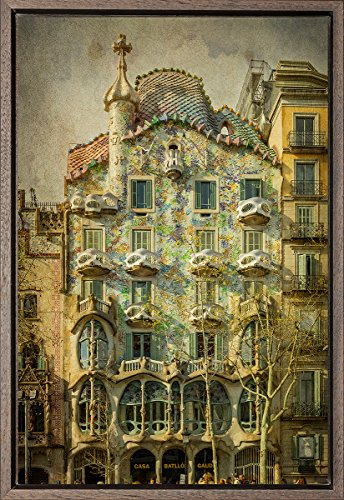 TEXFOTO Cuadro Enmarcado - Casa Batlló de Antonio Gaudí en Barcelona - Fotografía artística y Moderna Listo para Colgar - Hecho a Mano en España (20_x_30_cm)