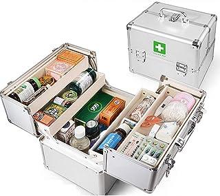 救急箱 収納ボックス シルバー 医薬品貯蔵ボックス 医療箱 アルミニウム合金製 耐荷重95kg 大容量 キーロック式 ダブル ツールボックス 工具 薬入れ アウトドア 診断箱 応急手当 軽量 pvc内装
