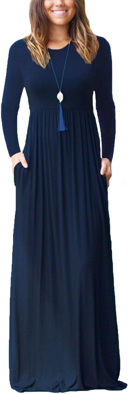 QiMei Women Long Sleeve Loose Plain Maxi Pockets Summer Dresses Casual Long Dresses
