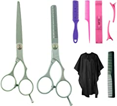 8 piezas kit profesional de tijeras de peinado de pelo, herramientas de peluquería, con peine de pelo, capa, tijeras de corte y adelgazamiento, peine de hoja, clip de flequillo, clips, peine de cola