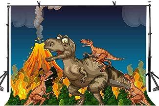 EdCott Dibujos Animados Dinosaurio telón de Fondo Divertidos Dragones con Llamas en la montaña Niños Fiesta Infantil Banner Fondo de Vinilo sin Costura