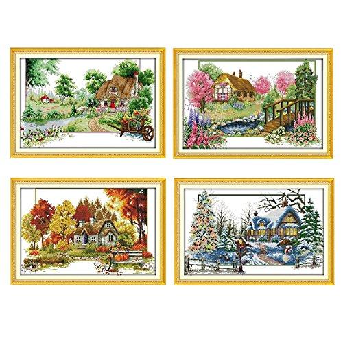 Labellevie Kreuzstich Stickerei DIY Handarbeit Stickpackung Set 65cm x 45cm: Vier Jahreszeiten