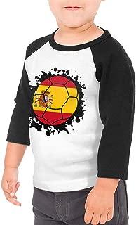 Boys Girls Kids & Toddler Spain Flag Soccer Ball Long Sleeve Tees 100% Cotton