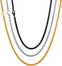 U7 Rope Wheat Chain 3mm/5mm/ 6mm/9mm Boys Mens Fashion Jewelry Stainless Steel Fashion Necklace/Bracelet/Chain Set, Wear Alone or with Pendant, Length 18 inch to 30 inch