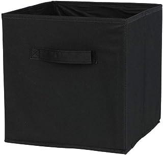 Panier de rangement pliable en tissu avec poignées Noir