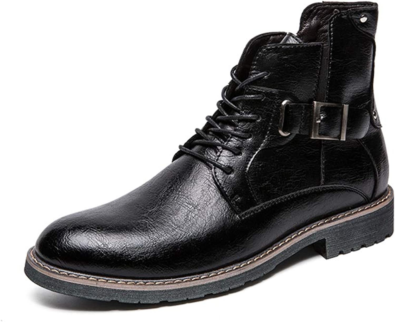 SRY-shoes 2018 New Men's Fashion Work Ankle Boots Casual Rust-Proof Metal Button Convenient Zipper High Top Martin Boot
